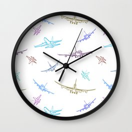 Pastel Airplanes Wall Clock