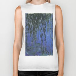 Water Lilies and Weeping Willow Branches by Claude Monet Biker Tank