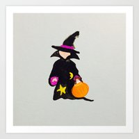 toddler Art Prints featuring October Halloween Trick or Treat Toddler Witch by PodArtist