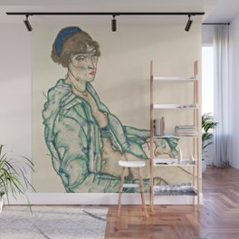 "Egon Schiele ""Sitting Semi-Nude with Blue Hairband"" Wall Mural"