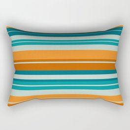 Summer Stripes Horizontal Pattern in Orange, Rust, Teal, Aqua, and Turquoise Rectangular Pillow