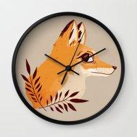 nan lawson Wall Clocks featuring Fox Familiar by Nan Lawson