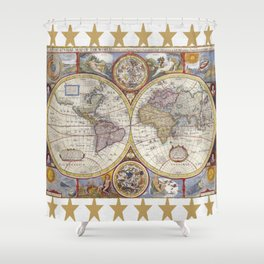Vintage Map with Stars Shower Curtain
