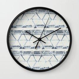Simply Tribal Shibori in Indigo Blue on Lunar Gray Wall Clock