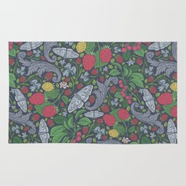 Red berries with butterflies and bluebells on dark background Rug