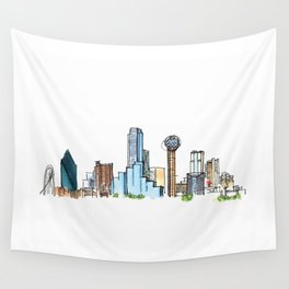 downtown dallas skyline Wall Tapestry