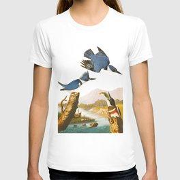 Belted Kingfisher John James Audubon Vintage Scientific Illustration American Birds T-shirt