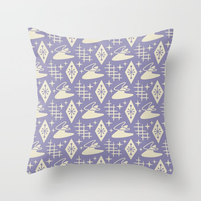 Mid Century Modern Boomerang Abstract Pattern Lavender and Tan 261 Throw Pillow