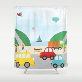 Transportation Zone Shower Curtain