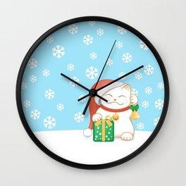 White Christmas Cat Wall Clock