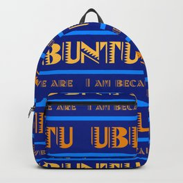 Ubuntu Unity In Swahili Blue Background And Yellow Text Backpack