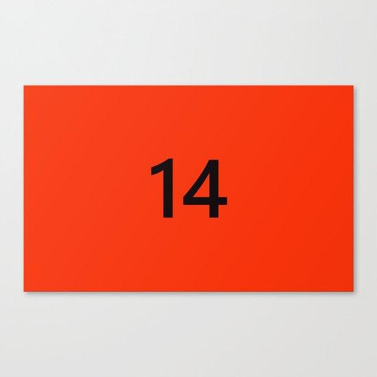 Legendary No. 14 in orange and black Canvas Print