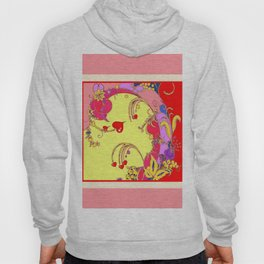 Red Hearts Gold Color Fantasy Scrolls & Flowers Ferns Art Pattern Hoody