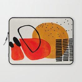 Mid Century Modern Abstract Colorful Art Yellow Ball Orange Shapes Orbit Black Pattern Laptop Sleeve