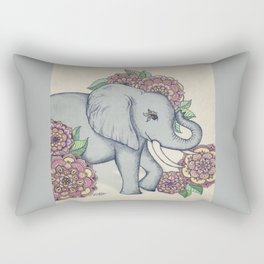 Little Elephant in soft vintage pastels Rectangular Pillow