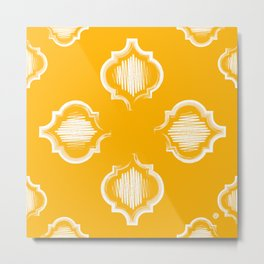 Moroccan Brushstroke Motif on Sunshine Gold (pattern) Metal Print