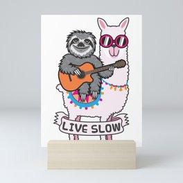 Sloth and Llama Mini Art Print