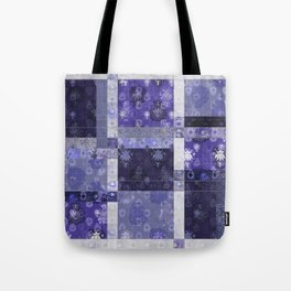 Lotus flower blue stitched patchwork - woodblock print style pattern Tote Bag