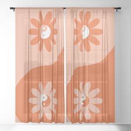 Yin Yang Flower in Orange & Peach Sheer Curtain