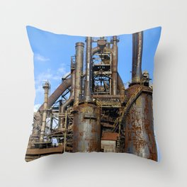 Bethlehem Steel Blast Furnace 3 Throw Pillow