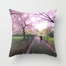 New York City Springtime Path Throw Pillow