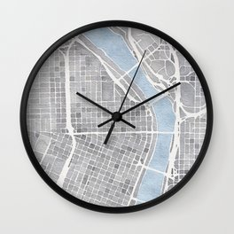 Portland Oregon watercolor city map art Wall Clock