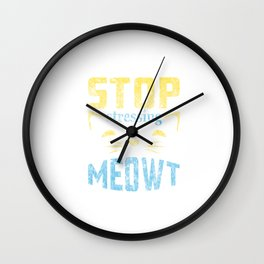 Stop Stressing Meowt Cat Lover Distressed Wall Clock