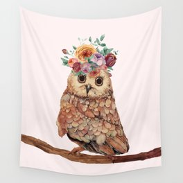 Owl with Flowers Wall Tapestry