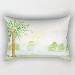 Palm tree in a sunset Rectangular Pillow