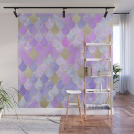 Girls, Mermaid Scales, Cute Pattern, Pink Lilac, Purple, Gold Wall Mural