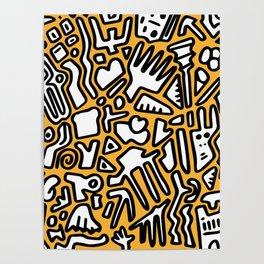 black doodle on orange Poster