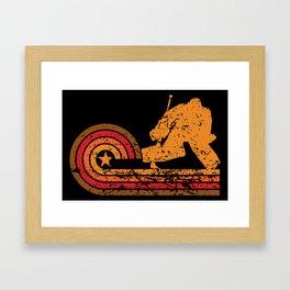 Retro Style Hockey Goalie Vintage Framed Art Print