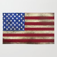 american flag Area & Throw Rugs featuring American Flag by Jason Michael