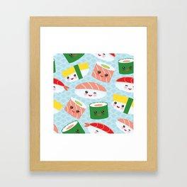 pattern Kawaii funny sushi rolls set with pink cheeks and big eyes, emoji Framed Art Print