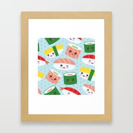 pattern Kawaii funny sushi rolls set with pink cheeks and big eyes, emoji Framed Art Print
