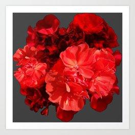 Decorative Red Geraniums On Grey Art Print