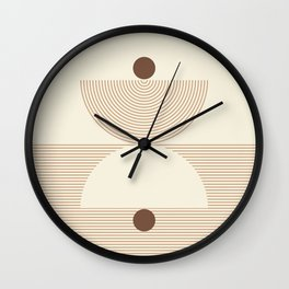 Geometric lines in Shades of Coffee and Latte 6 (Sunrise and Sunset) Wall Clock