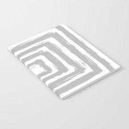 Minimal Light Gray Brush Stroke Square Rectangle Pattern Notebook