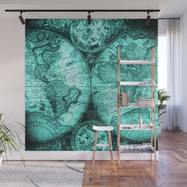 Vintage Turquoise Green Map Design Wall Mural
