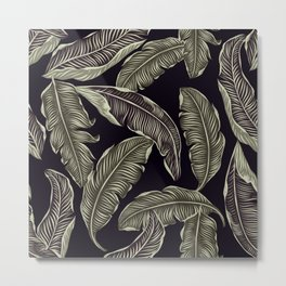 Jungle Leaves Pale Gold and Black Pattern Metal Print