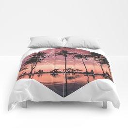 SUNSET PALMS- Geometric Photography Comforters