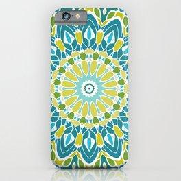 Beach Blue and Lime Green Mandala iPhone Case
