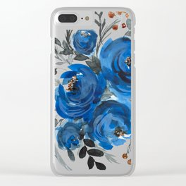 Blue Watercolor Peonies Clear iPhone Case