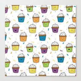 Cute Happy Fun Cupcakes with white background Canvas Print