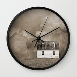 House in Sepia Brown Wall Clock