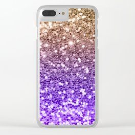 Luxury modern violet lilac faux gold sequins glitter Clear iPhone Case
