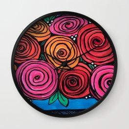 Bowl of Roses Wall Clock