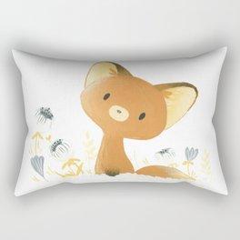 Little fox and flowers Rectangular Pillow