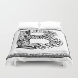 Zentangle B Monogram Alphabet Initial Duvet Cover