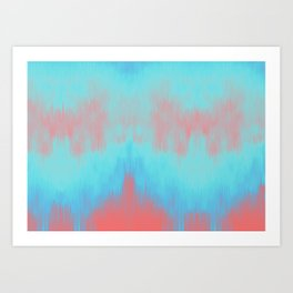 Blue Painting on Living Coral Art Print